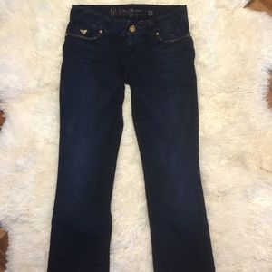 GUESS dark wash lightly flared jeans